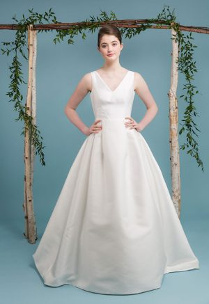 Audrey Wedding Dress, Mikado, V-neck. low back, train