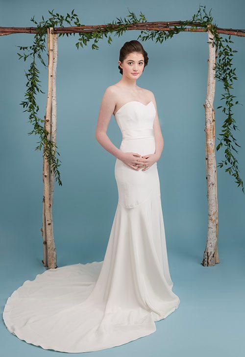 Rikke Wedding Dress, silk crepe, mermaid, sweetheart neckline