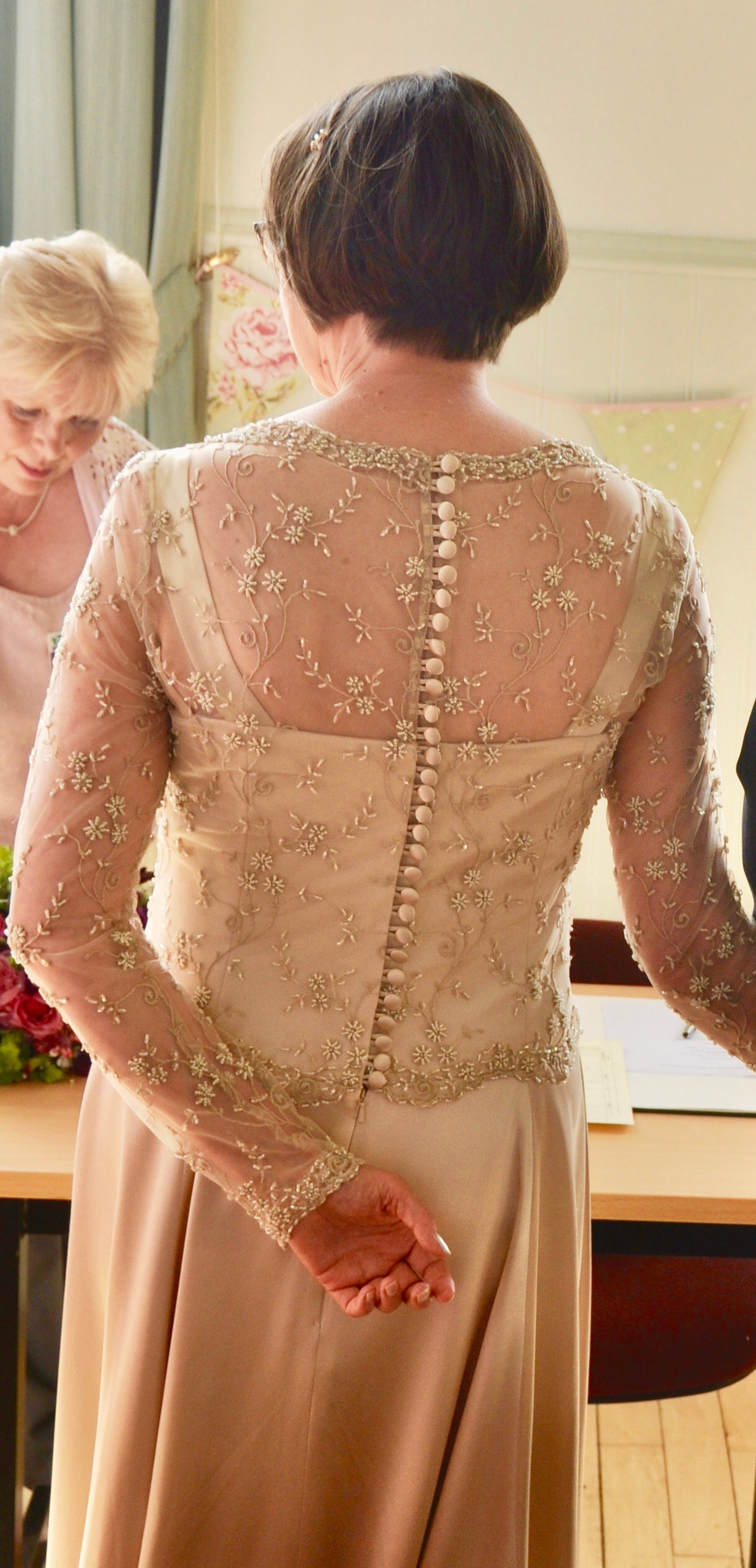 Gold beaded wedding drses