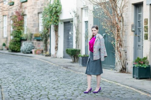 dotted tweed blazer