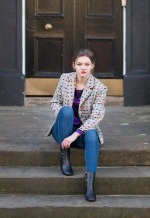 dotted tweed blazer fitted jacket