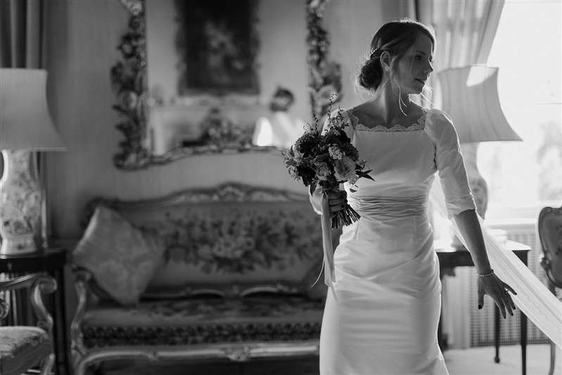Silk wedding dress with vintage lace