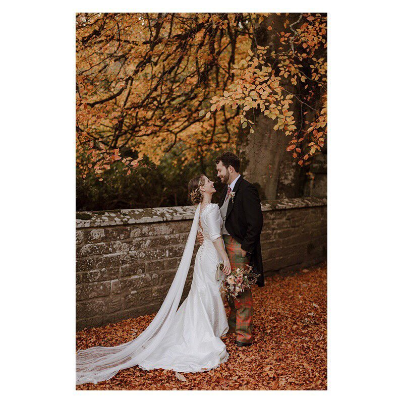 Bride and Groom silk wedding dress and silk veil