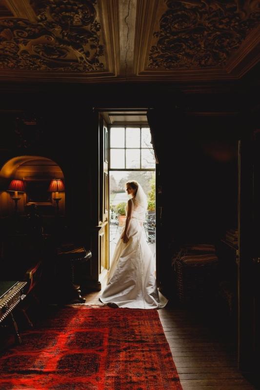 Stunning silk Zibeline wedding dress back view