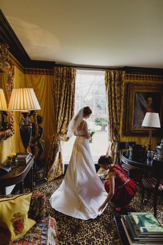 zibeline wedding dress and bridesmaid backview