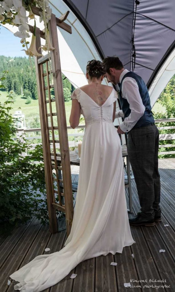 French Bride Backview wedding dress