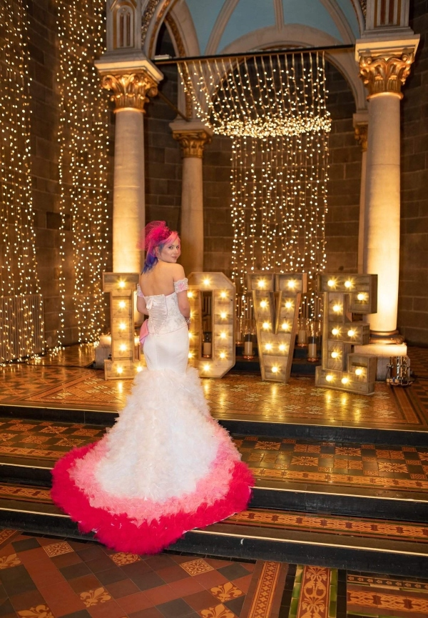 pink white wedding dress back
