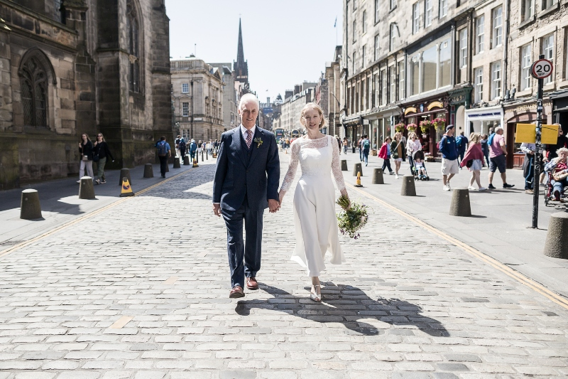 Bride and groom on the Royal Mile