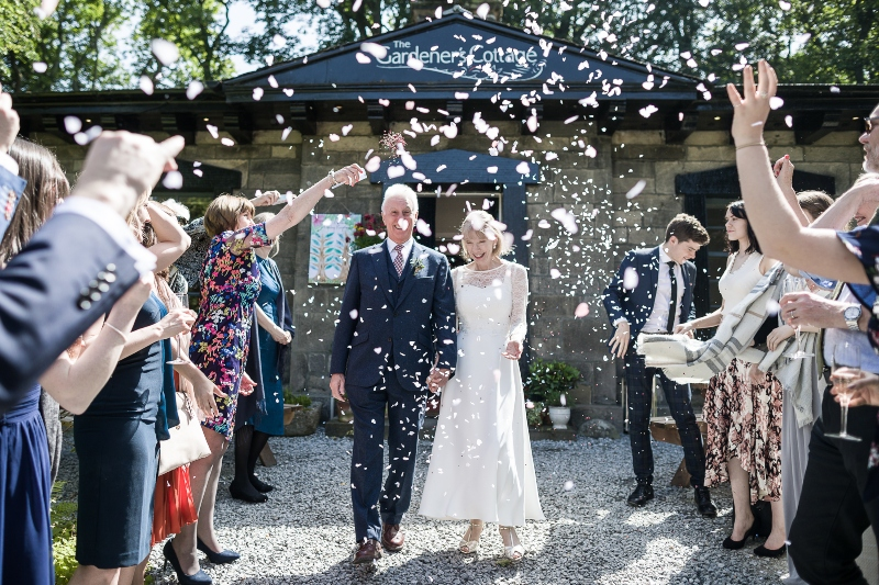 Confetti shot at Gardeners Cottage