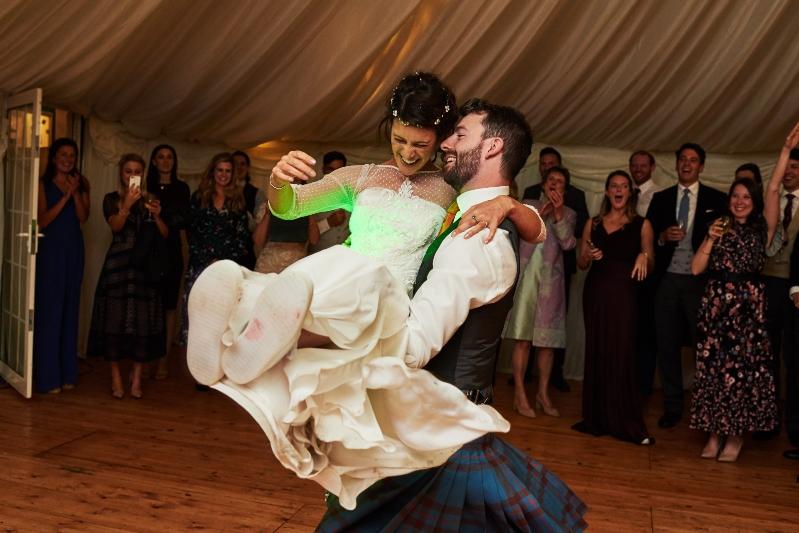 Bohemian style wedding dress dance