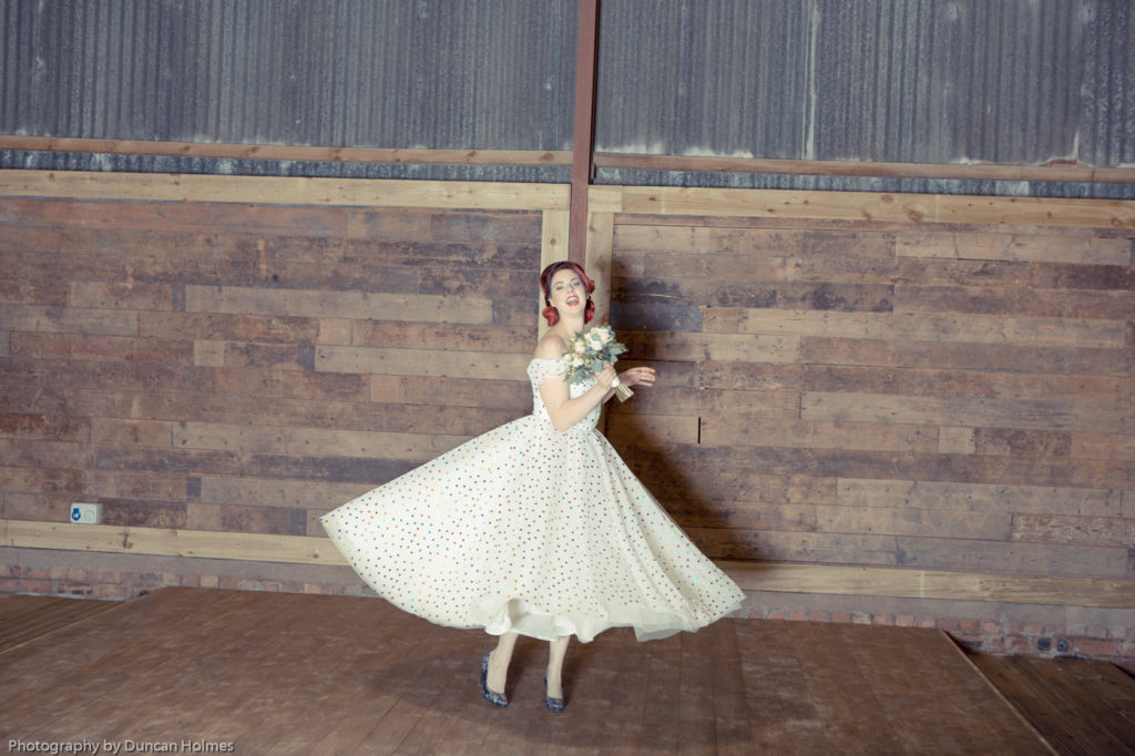 bridal photoshoot in fife, polka dot wedding dress