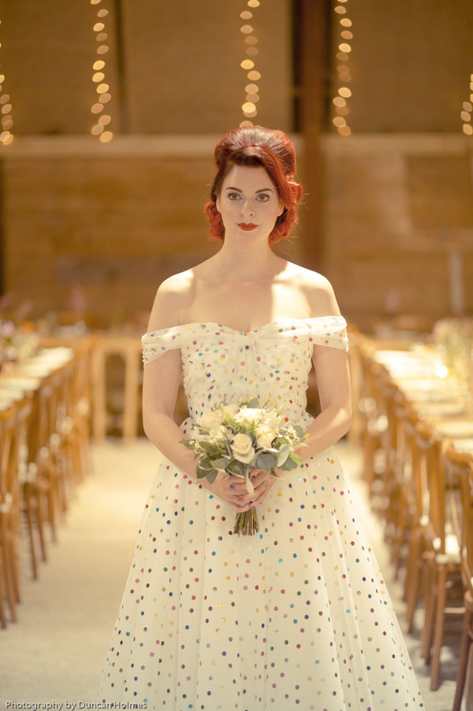 fife bridal photoshootpolka dot weddingdress