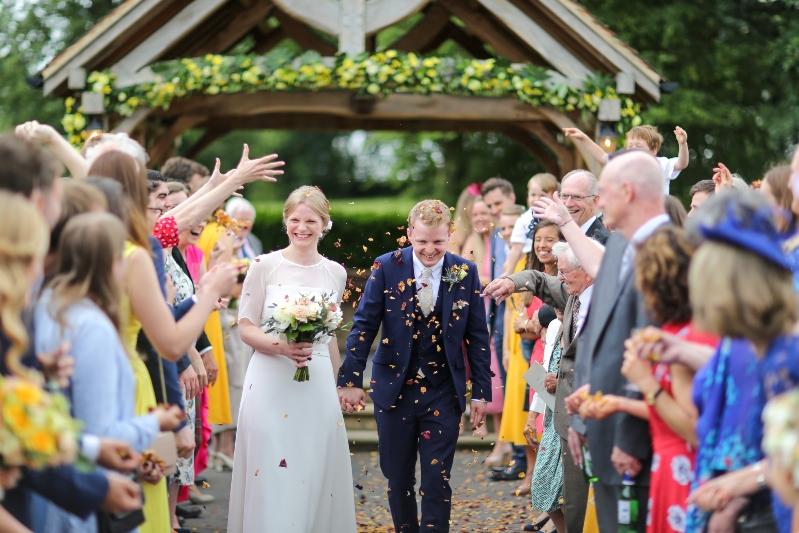 soft silk wedding dress confetti