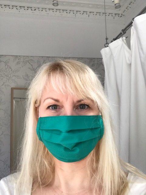 face mask emerald green