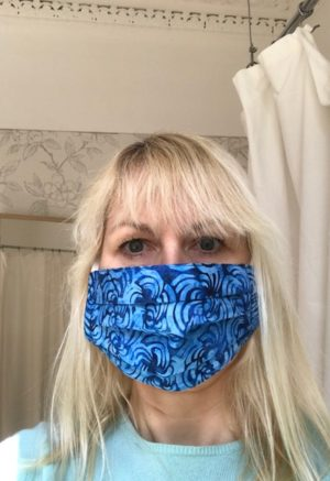 face mask 2 blues batik, cotton, washable