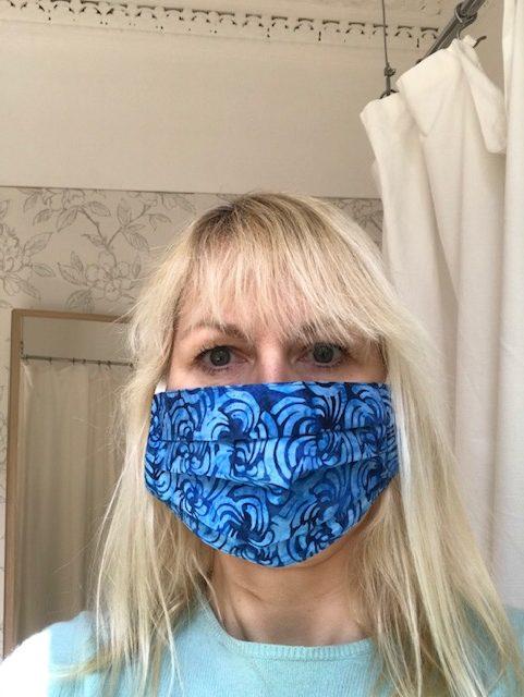 face mask 2 blues batik, cotton, washable