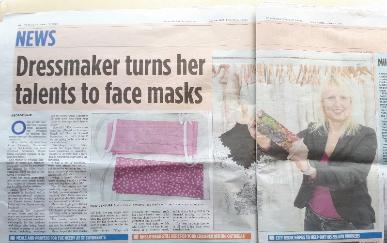 Press coverage, Colourful facemasks, washable, reusable, handmade face covering with filter