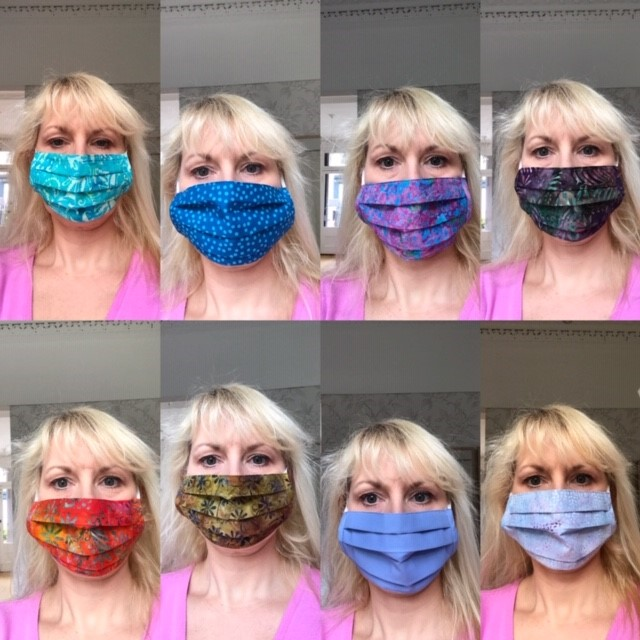 Colourful facemasks for pandemic, washable, reusable, handmade face covering with filter