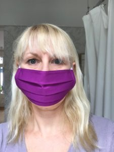 Face Mask in Magenta cotton, washable, reuseable, hand made