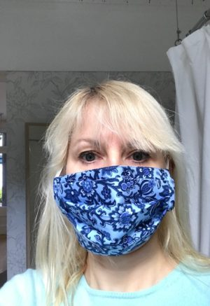 face mask pale blue with navy
