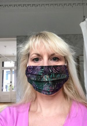face mask purple and green