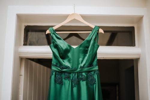 emerald green wedding dress, hand beading, bespoke wedding dress