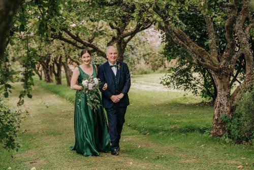 Bridal gown green, emerald green wedding dress, walk down the aisle