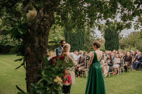 Green Wedding dress, outdoor ceremony,