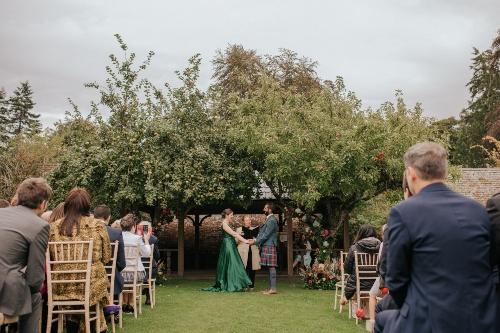 Green Wedding dress, outdoor ceremony, coloured wedding dresss