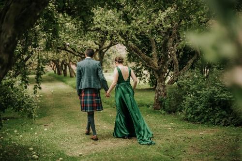 Green Wedding Dress,  Low Back, silk wedding dress, Hand beading