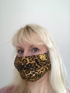 Face Mask, face cover, leopard print, gold, sequins, beads