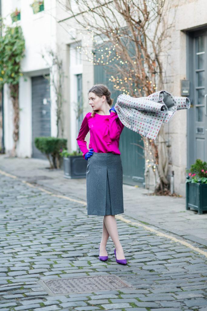 silk blouse with asymmetric jabot