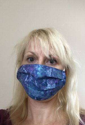 blue and lavender graphite face mask