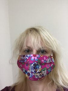 face mask candy skull pink, Washable, built in filter