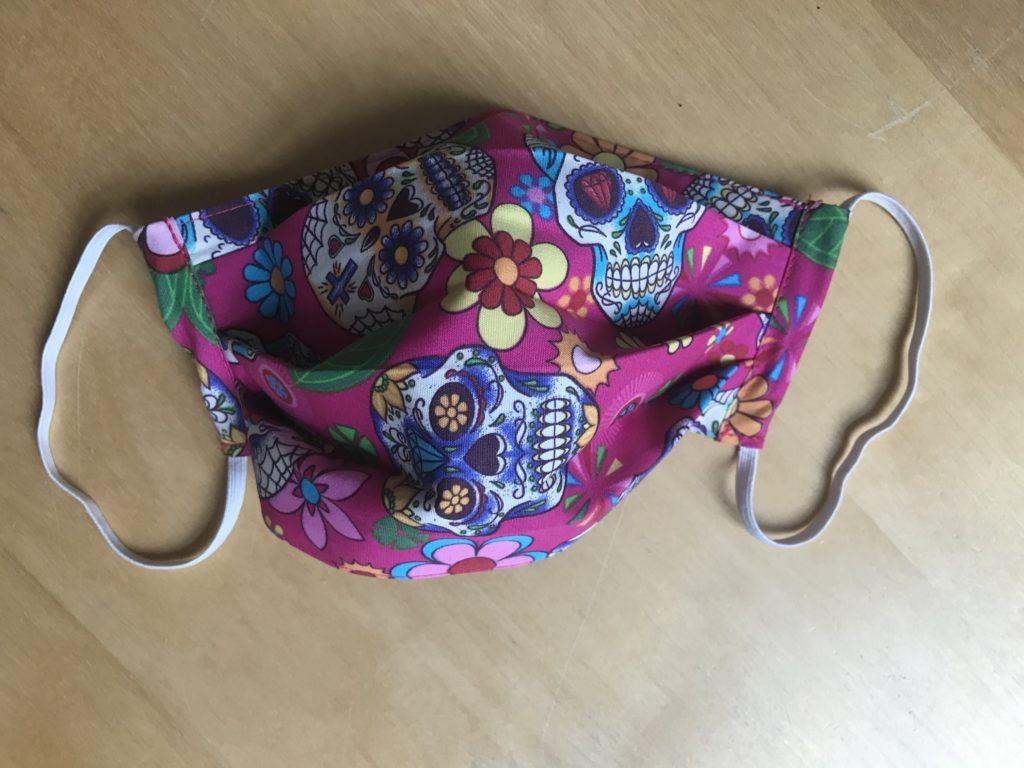 face mask candy skull pink, built in filter, reusable, washable