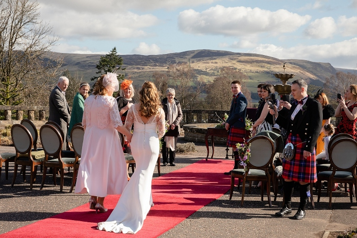 Intimate wedding at Gleneagles outdoors ceremony