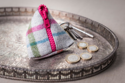 tweed pyramid coin purse