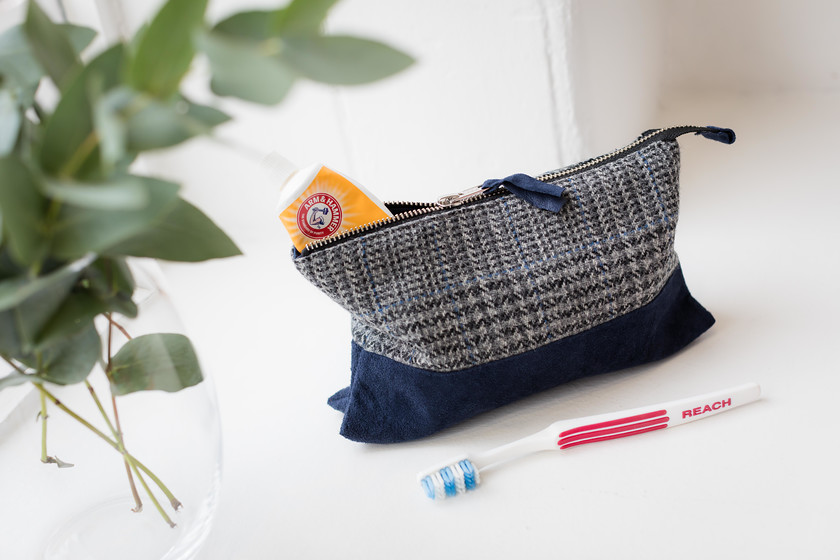 tweed wash bag