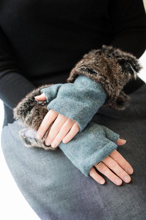 fingerless gloves sea green