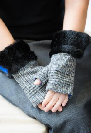 fingerless gloves grey check