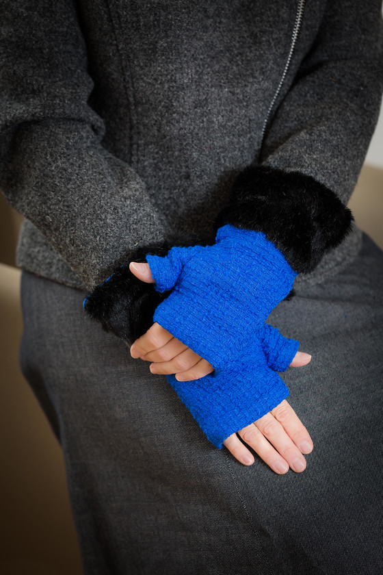 fingerless glove royal blue