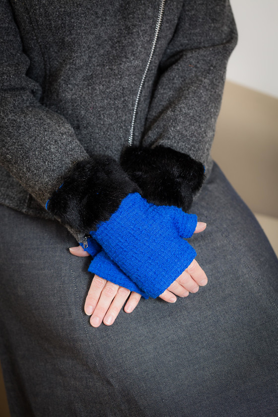 fingerless gloves royal blue