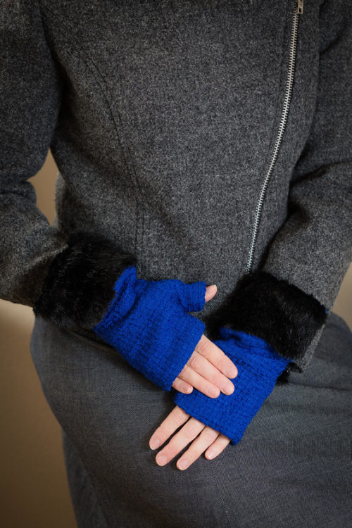 fingerless gloves lobelia blue