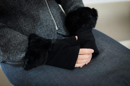 fingerless gloves black boucle