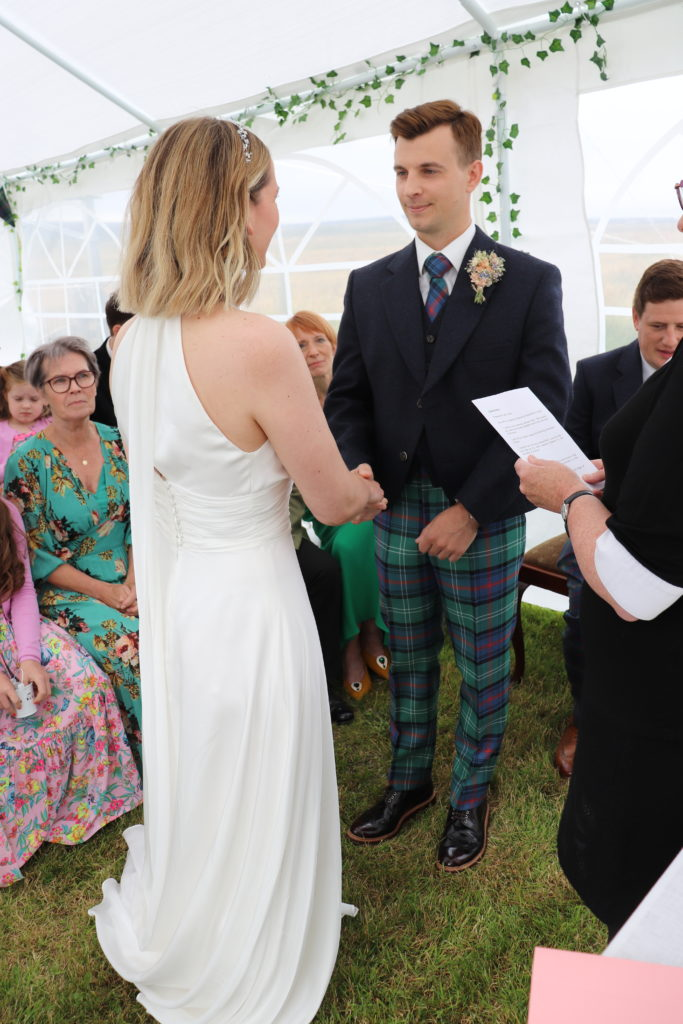 Micro wedding in Shetland exchange of the vows
