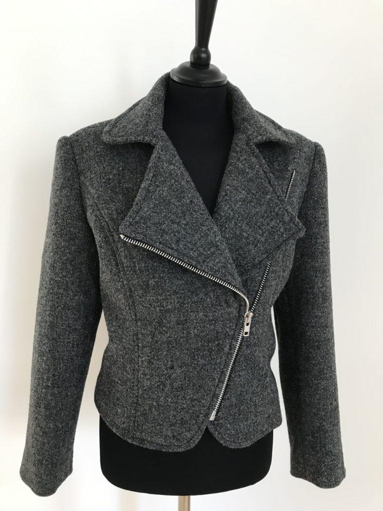 Harris Tweed biker jacket worn open