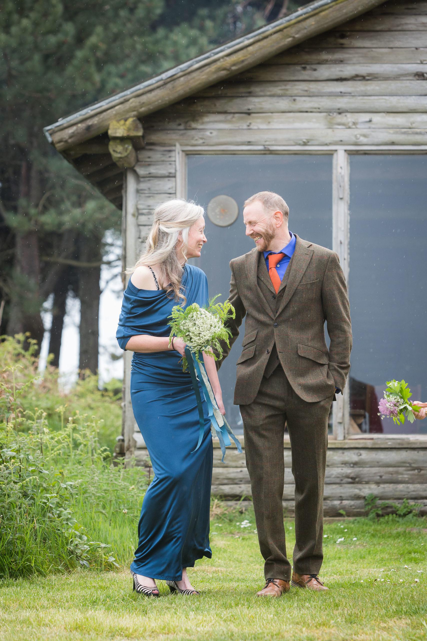 blue silk jersey wedding dress