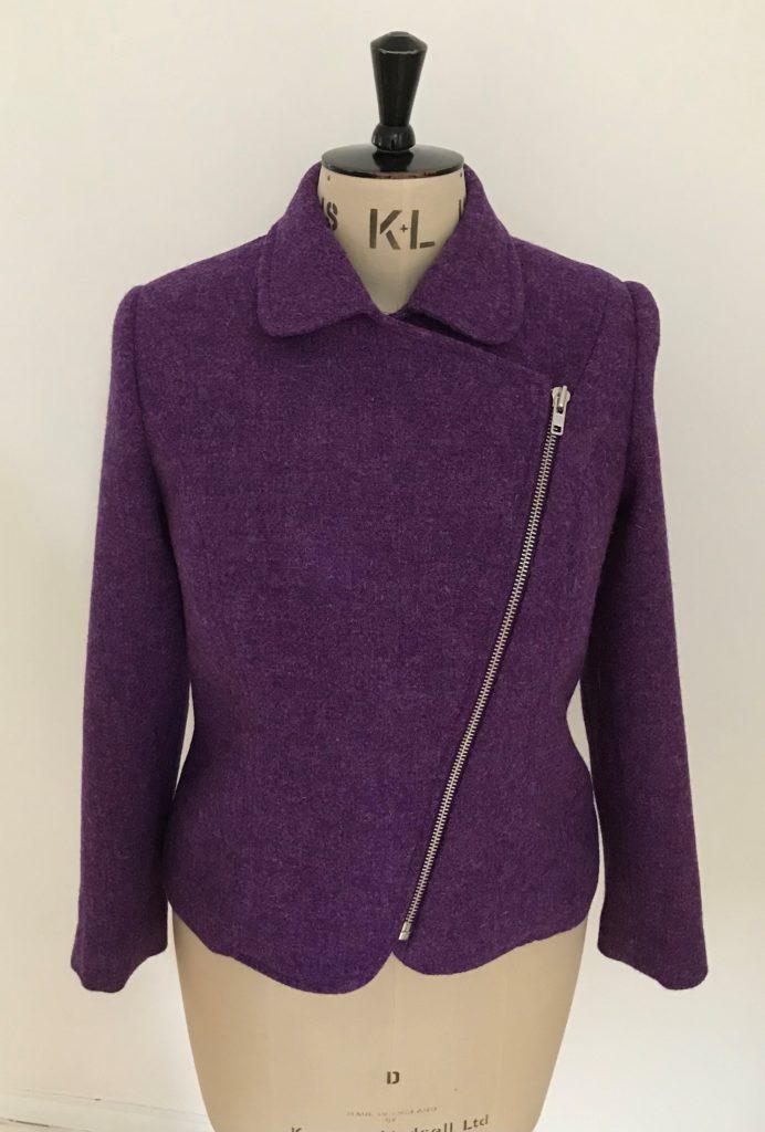 harris tweed biker jacket purple
