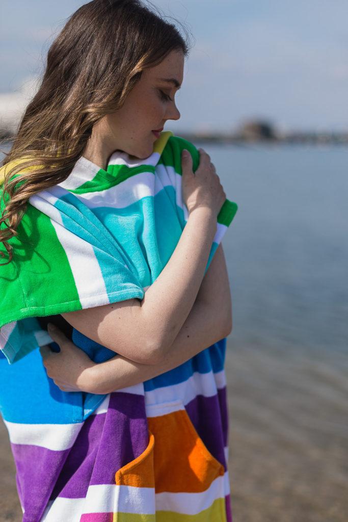 hooded beach towel rainbow