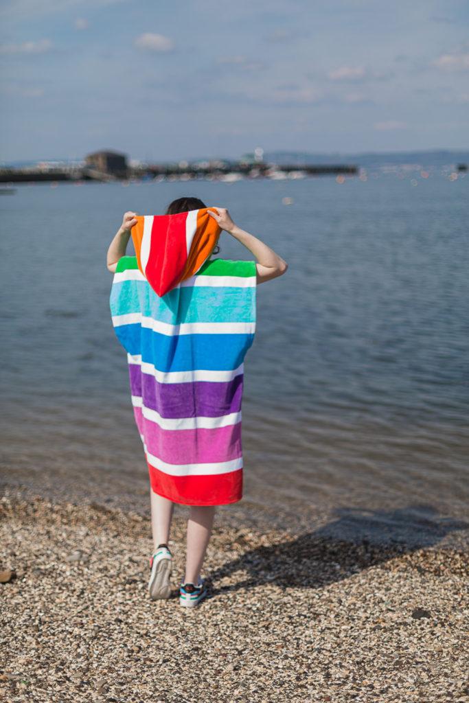 beach poncho rainbow back view